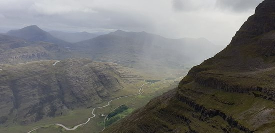 West Coast Mountain Guides: High on the sides of Liathach, overlooking the Torridon valley.
