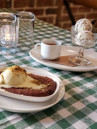 Made in house chocolate cake with pistachio ice cream & affogato.