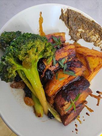 Braised pork, potato gratin and broccoli.