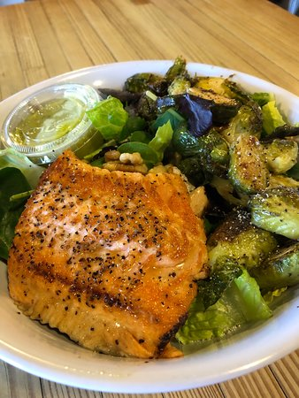 """Hooked Seafood Co: """"Fishbowl"""" w/choice of fish; curried couscous and/or greens; roasted Brussels sprouts, walnuts & cuke raita. Excellent Arctic char. $15"""