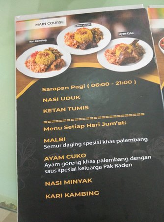 Pempek Pak Raden: daftar menu yang layoutnya berkelas