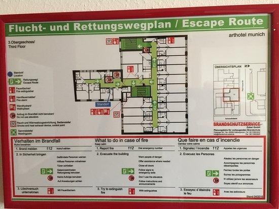 Zimmerplan; Flucht- und Rettungsplan