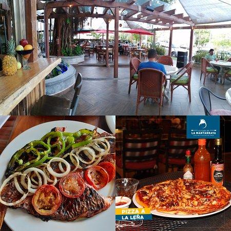 Una parte de nuestra terraza, deliciosa 😋 pizza de camarones al ajillo y nuestro pescado de pesca fresca al gusto
