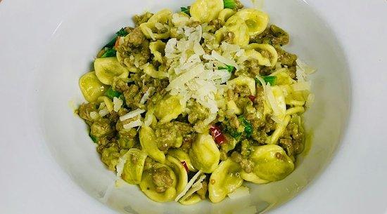 ORECCHIETTE ALLA PUGLIESE Fresh orecchiette pasta, homemade sausage, rapini, anchovies, calabrian peppers