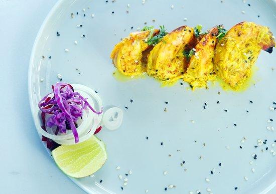 Bollywood Indian Cuisine: Ajwaini Jigha coated jumbo prawn in skewers