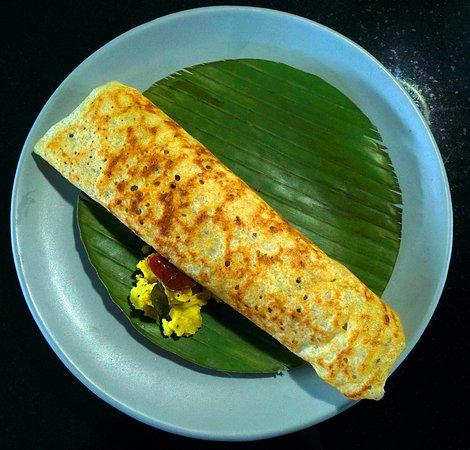 Dosa, Flat thin layered rice batter.
