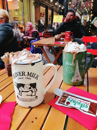 Hot chocolate with milk on the street