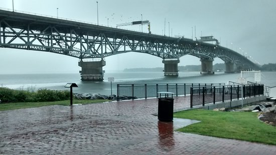 Water Street Grille: The York River Bridge in the rain.
