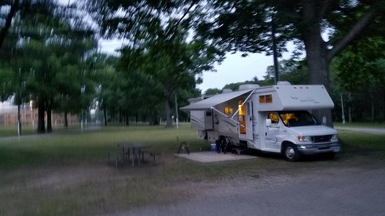 Stayed at Ottawa County Fairgrounds Campgrounds. Large, flat campsites with electric and water. Awesome place to stay. Close to the beached.