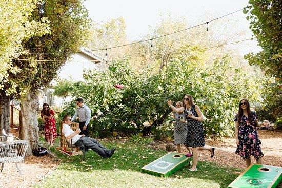Geyserville, Kalifornie: Guests playing Cornhole in our garden area.