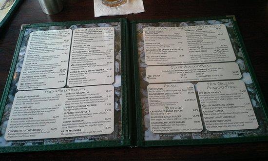 Bistro Orleans: Part of the menu