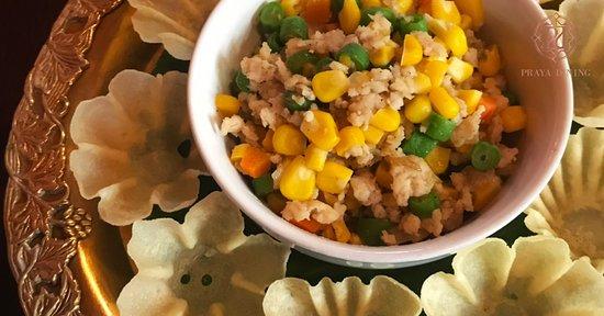 "Praya Dining at Praya Palazzo: ""Krathong Tong"": Marinated minced chicken and vegetables served in a crispy golden cup"