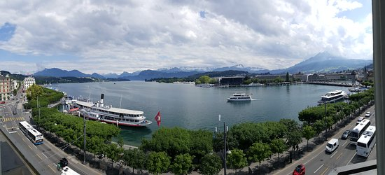 Panoramic view from a 4th floor room on the lakeside