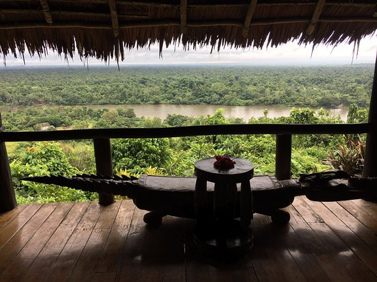 Karawari Lodge: View of the Karawari River from one of the thatched bungalows.