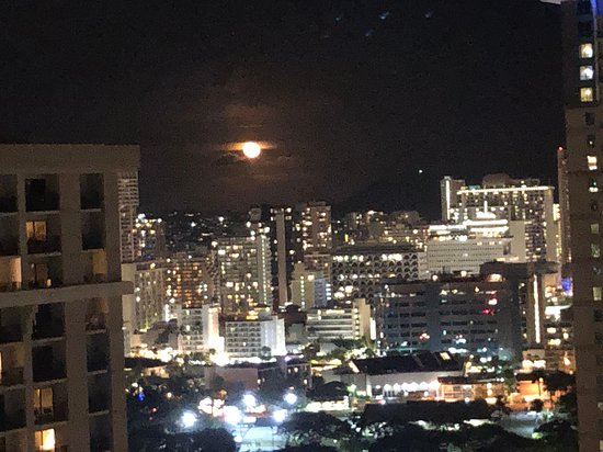 Night view and a full moon.