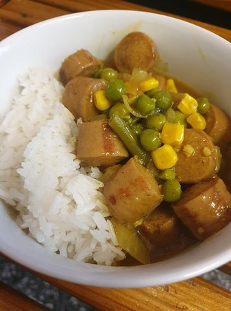 Looking for something a little more hearty  for lunch today? Come in and try our mild curried sausages and rice 🤤