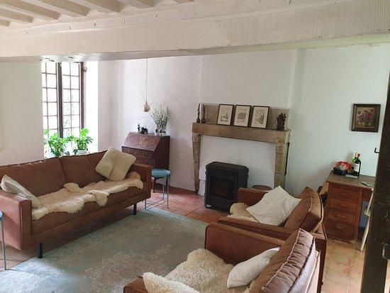 Sarthe, Fransa: de gastenwoonkamer, met satelliet tv en open haard