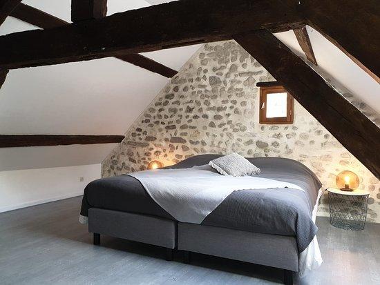 Le Mele-sur-Sarthe, Francja: de grijze 2 persoons slaapkamer met extra lang box springbed en minibar