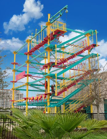 The Mountain of Youth Ropes Course is a one-of-a-kind experience at LuLu's Beach Arcade at The Barefoot Landing!