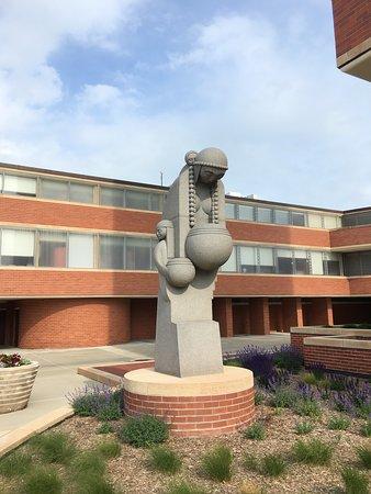 SC Johnson Headquarters: Statue outside Frank Lloyd Wright's SC Johnson Research Tower.