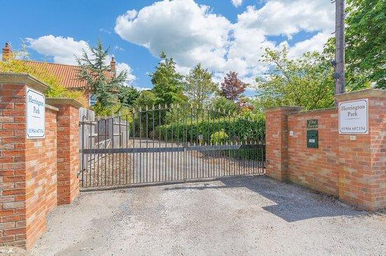Secure gated entrance, Herrington Park Holiday Lodges York.