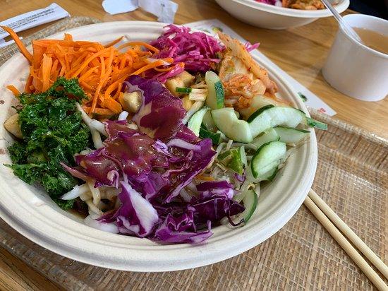 Bowl with Japchae, Spring Mix, and Tofu
