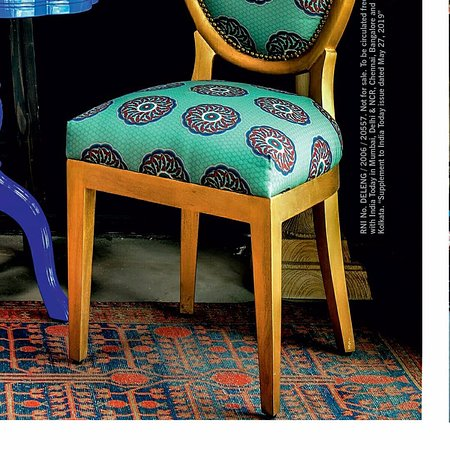 A Pomegranate Samarkand from the Carpet Cellar featured on the cover of India Today Home 2019