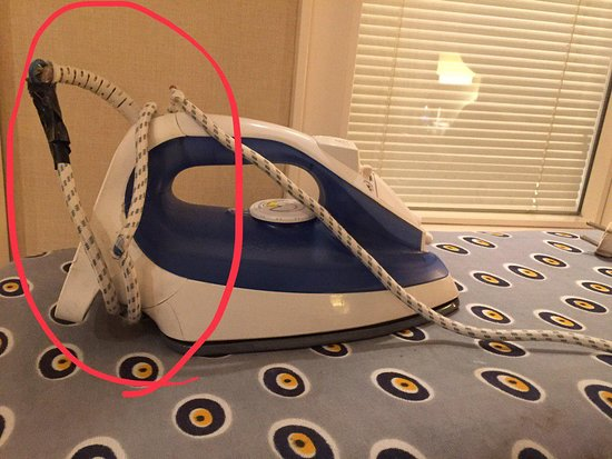 I asked for an iron and an ironing board, I was immediately given them, but the iron's cord did not seem very safe to use.