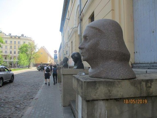 the sculptures outside
