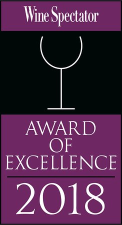 Wine Spectator Award of Excellence for our amazing wine list.