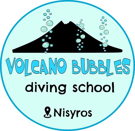 the logo of volcano bubbles diving school