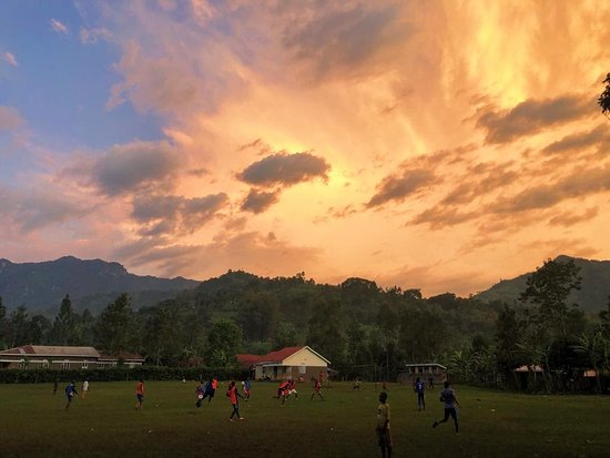 Bududa, Uganda: Sunset view of the pitch, three minute walk from homestay.