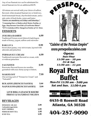 Persepolis Persian Cuisine: TO__GO__MENU__PAGE 1