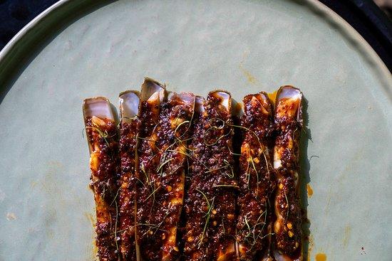 French Razor Clams - Flambéed table side, homemade XO sauce