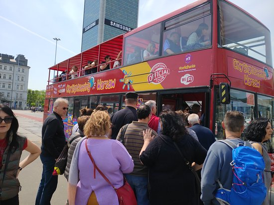 City Sightseeing Warsaw Hop-On Hop-Off Bus Tour: The bus was getting full, with a dozen people still trying to get on.