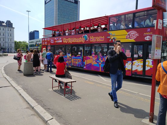 City Sightseeing Warsaw Hop-On Hop-Off Bus Tour: The bus leaves.