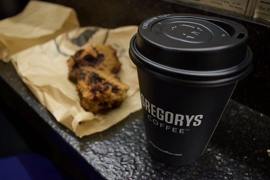 Coffee and a vegan banana and choc chip muffin!