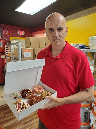 Bill Lewis of Vero Beach, Florida, stopping for donuts at Chickenbutt Donuts in Chapin, South Carolina.
