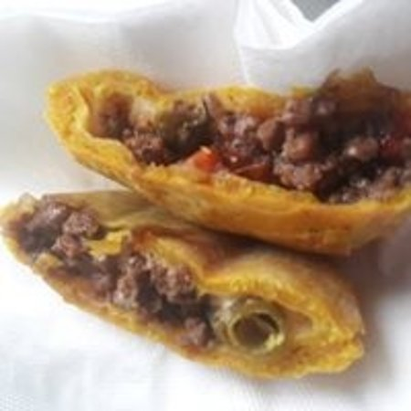 A look inside one of our delicious spicy Jamaican beef patties