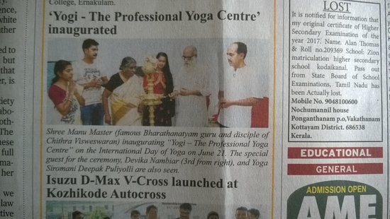 "Kalamassery, อินเดีย: We recently appeared in ""The Hindu"" daily in connection with our inauguration"