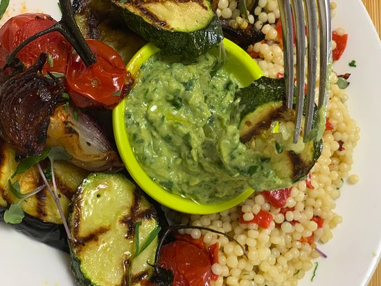 caponata salad w pearl couscous  V  Ve grilled aubergine & courgette, fire roasted red pepper, roasted red onion, cherry tomatoes, basil, pearl cous cous & spinach hummus