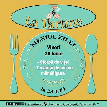 La Tartine Cotroceni: 🍴 Vă așteptăm #LaTartine #Cotroceni cu #MeniulZilei (#Vineri, 28 Iunie) la 23 lei: - Ciorbă de vițel - Tocăniță de pui cu mămăliguță  * în limita stocului disponibil P.S. Nu ratați cele mai delicioase #tartine si #FructeDeMare #LaTartineCotroceni #Bucuresti