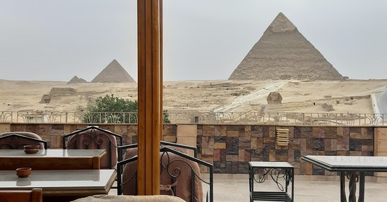 the rooftop balcony offers the best views of the pyramids