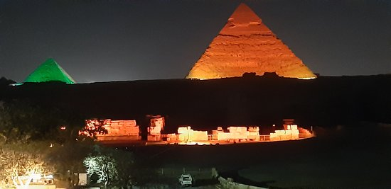 The Pyramid Light Show viewed from the rooftop is spectacular,