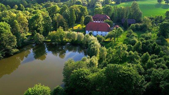 Warburg, Jerman: Die Gebäude liegen direkt von Wald umgeben.