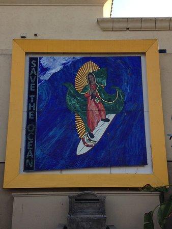 Surfing Madonna mosaic outside Leucadia Pizzeria (Encinitas, CA)