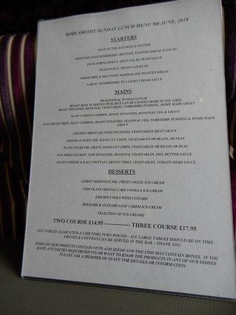 Bob's Smithy Inn Country Pub and Dining: Daytime menu