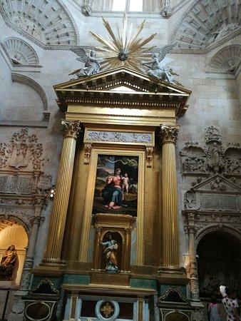 Papamoscas e interior de la catedral.