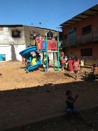 Kids playing in Dharavi slum.