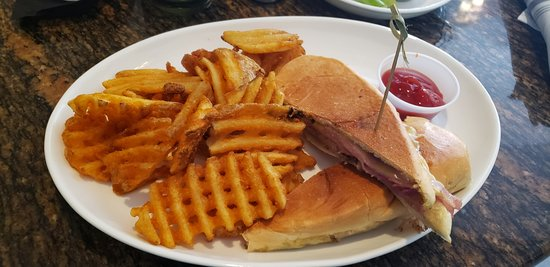 Grill 305: Pork sandwich with waffle fries
